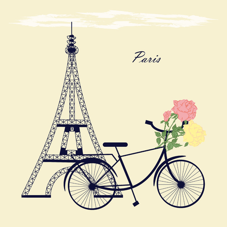 bud: Eiffel Tower bicycle flowers roses bud abstract illustration inscription Paris bright Illustration