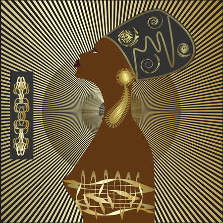 cleopatra: African woman headdress jewelry art creative abstract modern illustration black and gold background