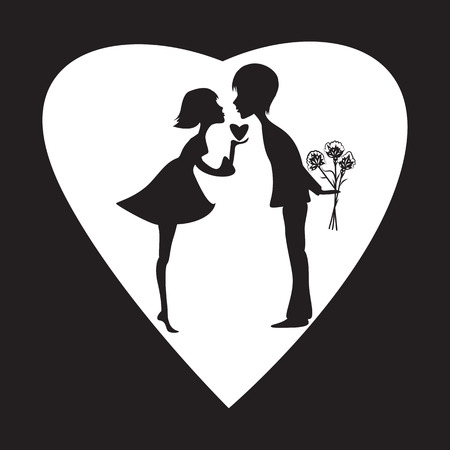 amorousness: silhouette of a girl and a boy on a white heart Valentine Day black background