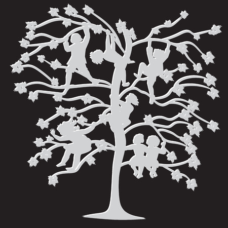 lepra: black and white silhouettes of children on the branches of trees in spring and summer abstract illustration isolated on a black background Vectores