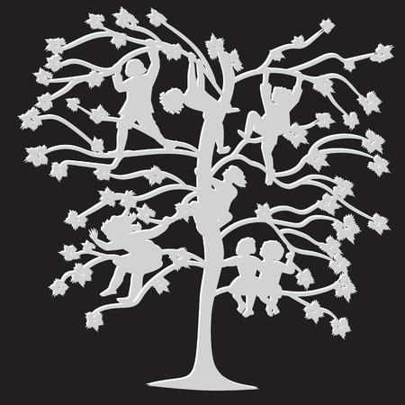 lepra: blanco y negro siluetas de los ni�os en las ramas de los �rboles en primavera y verano ilustraci�n abstracta aislado sobre un fondo negro