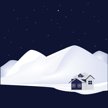 house at night: mountains Snow house night stars abstract art illustration tourism travel winter navy blue and white background