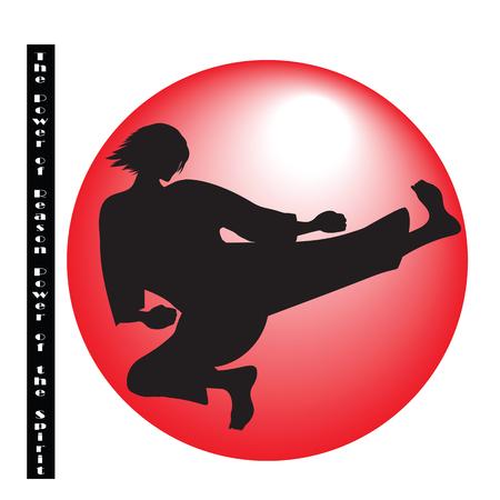 reason: illustration symbol martial arts judo karate taekwondo black silhouette red ball inscription in the power of reason strength of spirit white background