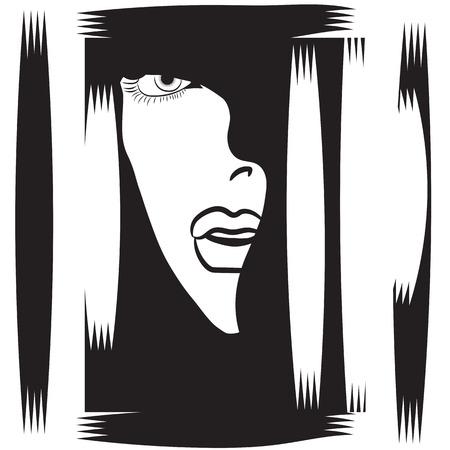 Frau das Gesicht im Profil schwarz und weiß abstrakte Darstellung weißen Hintergrund