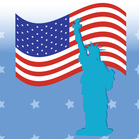 july 4: Statue of Liberty American flag on a blue background  American Independence Day July 4 Illustration