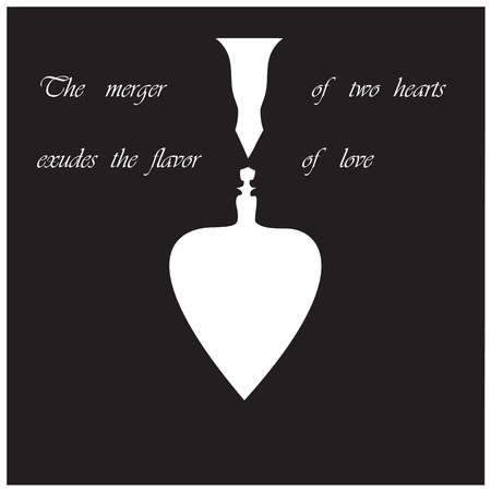 merger: black silhouette of a mans face and a woman sign a merger of two hearts exudes the fragrance of love illustration Illustration