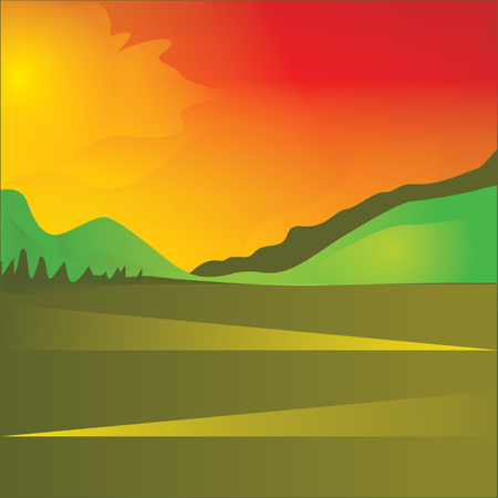 red sky: Landscape sun red sky clouds field hills abstract art illustration creative modern bright background