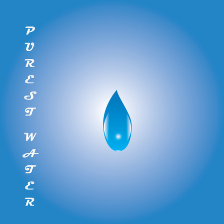 whiteblue: drop of water on white-blue background inscription purest water isolated abstract illustration
