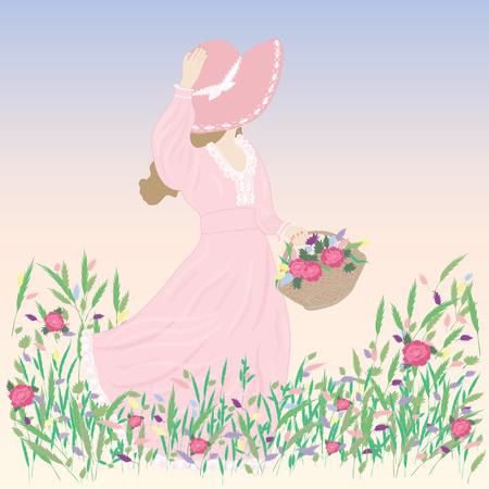 fleurs des champs: femme dans un champ de fleurs sauvages d'image chapeau pré bleu venteux fond printemps été Illustration