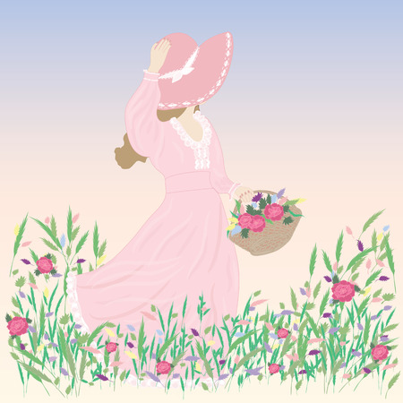 wildflowers: woman in a hat picture wildflowers field meadow blue windy spring summer background