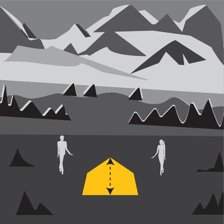 mountain snow: mountain snow tent trees silhouette of men and women stylized abstract art illustration gray white background travel tourism