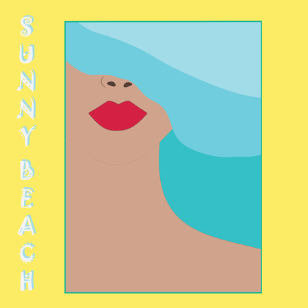 suntan cream: Abstract woman face illustration inscription isolated sunny beach summer bright background