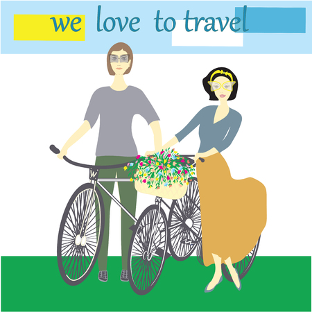 wildflowers: young couple woman and man in sunglasses on the bicycle basket with wildflowers inscription we love to travel the sky stylized sun clouds grass light background
