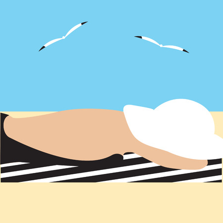 beach closed: silhouette of woman in black swimsuit closed white hat lying on a towel on the sandy beach of the sea gull abstract art illustration flat style tourism travel light background Illustration