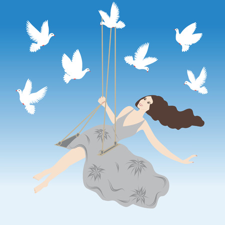 careless: romantic soft spring  background is white doves flying in the blue sky woman on a swing Some items are made in the style of a careless handmade techniquee Illustration