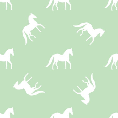 white horse on a green background background pattern Illustration