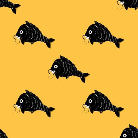 crucian: fish carp black and white yellow background art abstract modern creative pattern Illustration
