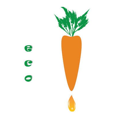 carrot juice: carrots with leaves drop of carrot juice label eco isolated abstract illustration white background