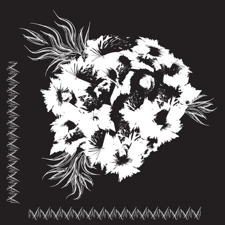 stimulate: white abstraction on black background flowers frame illustration