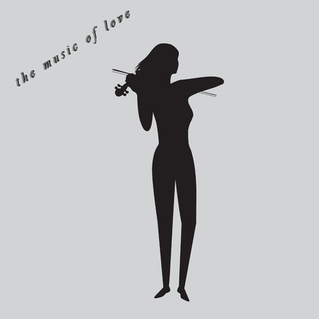 violinist: the music of love violinist black silhouette on a gray background