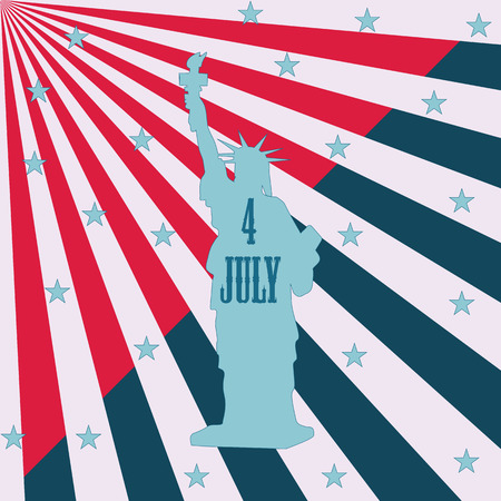 july 4: statue of liberty white rays Star inscription July 4 th art abstract modern creative illustration of red and blue background Illustration