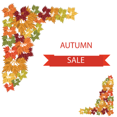 lowering: Autumn sale banner with bright colorful leaves raindrops isolated white background vector elements for design