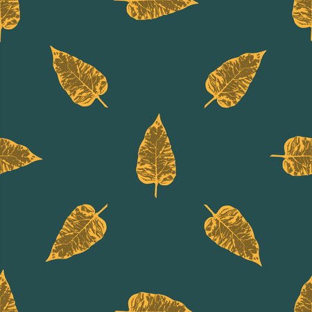 packing material: autumn leaves grunge style dark green background Creative abstract modern vector pattern