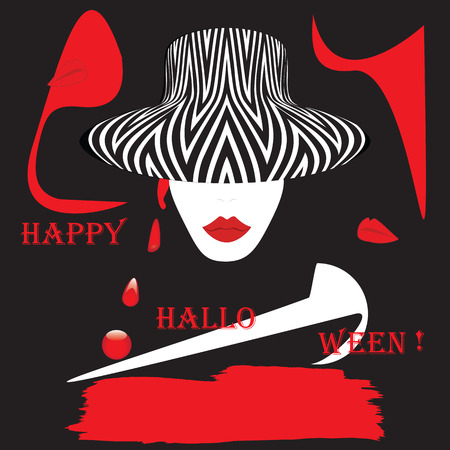 mind games: face of a woman in a hat lips red inscription Happy Halloween abstract art illustration creative modern mystic spiritualism, witchcraft magic Halloween vector black red white background