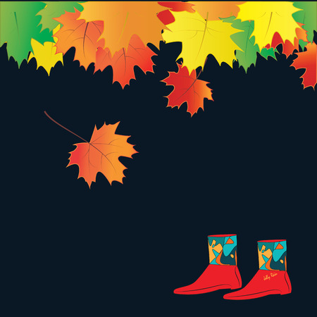 lowering: autumn leaves bright colorful rubber boots female black background art creative modern vector elements for design