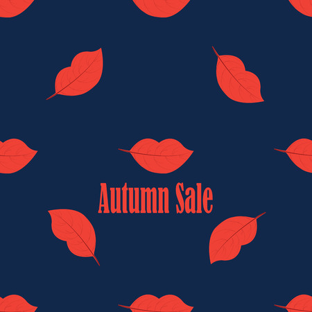 perfumery concept: tree leaves in the shape of red lips lettering Autumn sale abstract creative modern vector blue background pattern
