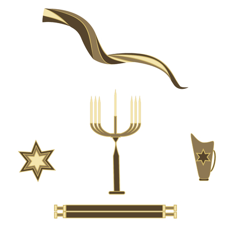 selichot: SET Shofar Menorah seven candles Star of David Scroll jug isolated white background vector art abstract creative modern elements for design Illustration