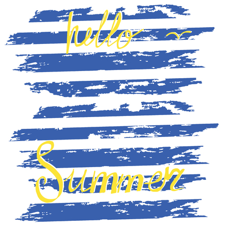 dub: brushstrokes of blue stripes abstract watercolor style grunge hand lettering Hello summer isolated on white background vector art abstract creative Illustration