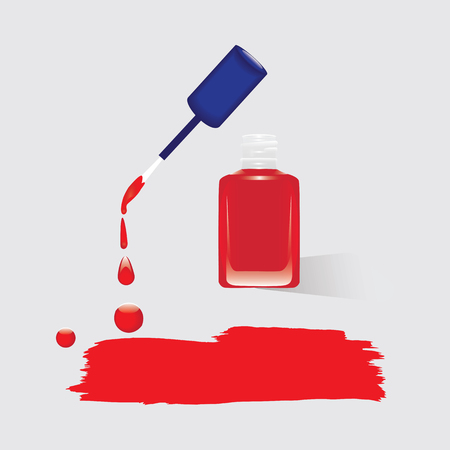 watercolor smear: glass bottle nail polish red smear watercolor isolated on a light background vector design element