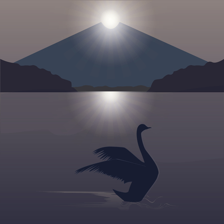 sunrise mountain: swan early morning sunrise mountain water abstraction art creative modern vector illustration Illustration