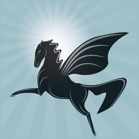 gently: Pegasus a winged horse rising sun gently blue background art abstract modern creative illustration vector Illustration