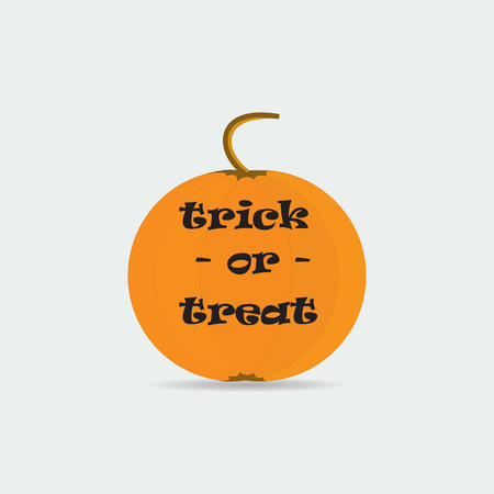 prank: pumpkin yellow label trick or treat isolated on white background abstract art vector design element for Halloween Illustration