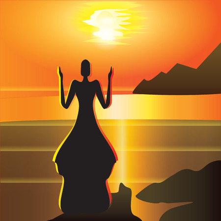woman meets sunrise raised hands meditation long dress art abstract creative modern vector illustration of a bright red and yellow background