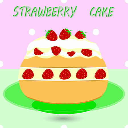 Strawberry cake on a plate with a decorative background abstract art vector illustration