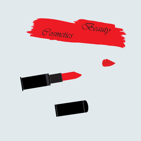 watercolor smear: lips red lipstick smear watercolor paint beautiful inscription cosmetics isolated on a light background vector design element
