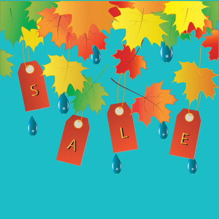lowering: Autumn sale banner colorful tags leaves raindrops vector art creative modern isolated light blue background elements for design