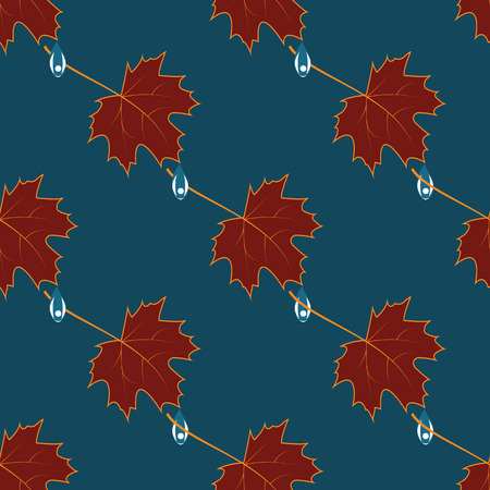 lowering: maroon leaves raindrops background blue vector art creative modern pattern