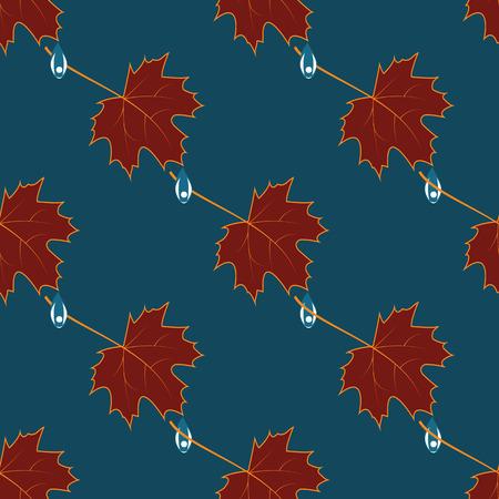 lowering: maroon leaves raindrops background blue vector art creative modern pattern