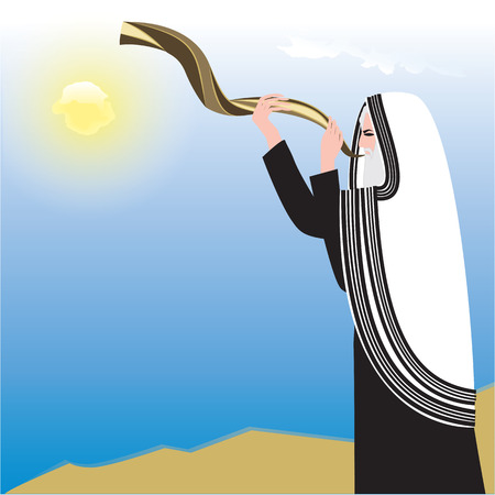 shofar: man holding Shofar background sky sun art abstract creative modern illustration vector Rosh Hashanah Illustration