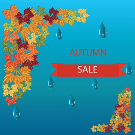 lowering: Autumn sale banner with bright colorful leaves raindrops vector illustration art creative modern blue background elements for design