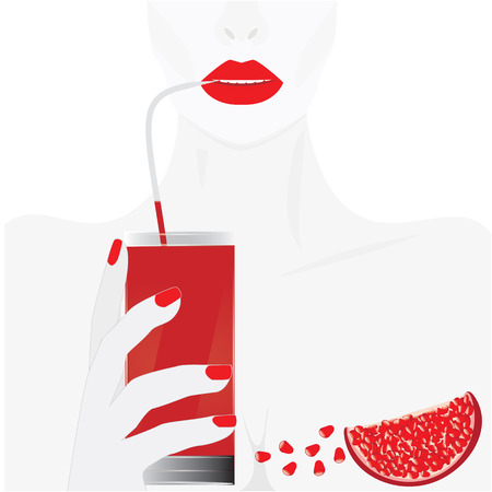 image of woman red lips hand holding a glass of juice slice of a pomegranate and a scattering of grain art abstract creative modern vector illustration white background Illustration