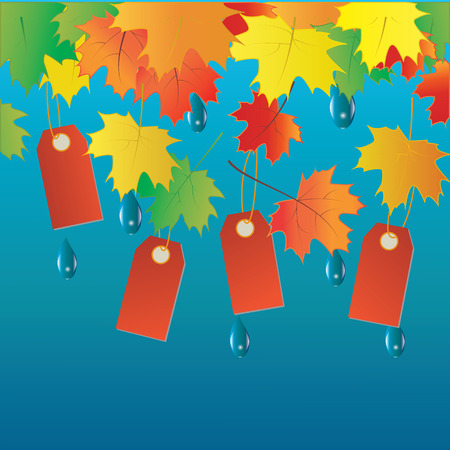 lowering: Autumn sale banner colorful tags leaves raindrops vector art creative modern isolated blue background elements for design