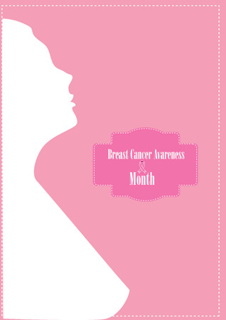 silhouette of a woman with a booklet label and pink ribbon Breast Cancer month Avareness vector Illustration