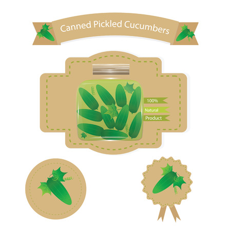 preserved: mock up packaging Label set for branding and advertising your farm products at the caf? shops and restaurants, home-made marinated cucumbers Illustration