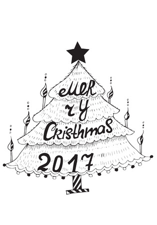Merry Christmas Sketch Freehand Drawing Black And White Ink Tree With Hand Letters Vector 2017