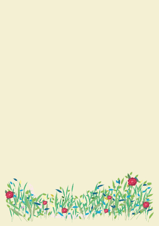 tuft: Card wild blooming meadow spring summer nature banner vector flyer